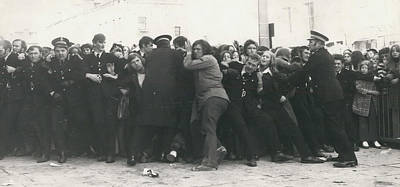 Police Hold Back Screaming Fans Trying To Get Tickets Art Print by Retro Images Archive