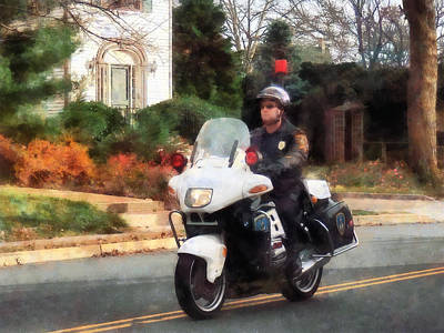 Photograph - Police - Motorcycle Cop On Patrol by Susan Savad