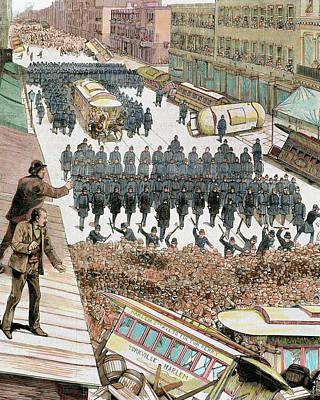 Police Officers Dispersing The Strike Art Print by Prisma Archivo