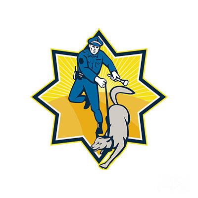 Police Dog Digital Art - Policeman Police Dog Canine Team by Aloysius Patrimonio