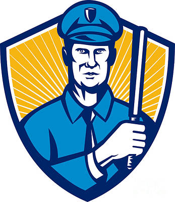 Police Officer Digital Art - Policeman Police Officer Baton Shield Retro by Aloysius Patrimonio