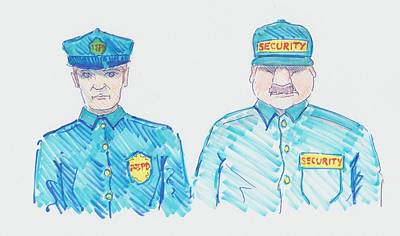 Drawing - Policeman Security Guard Cartoon by Mike Jory