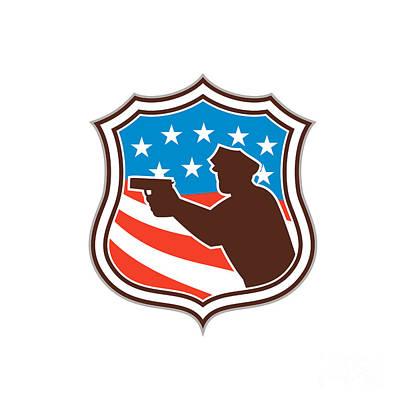 Policeman Silhouette Pointing Gun Flag Shield Retro Print by Aloysius Patrimonio