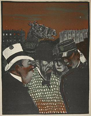 Cartoon Horse Drawing - Policeman Talking With Men by Georges d' Ostoya