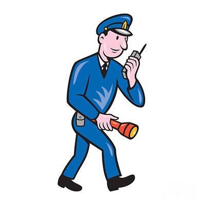 Policeman Torch Radio Cartoon Art Print by Aloysius Patrimonio