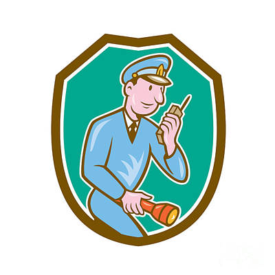 Policeman Torch Radio Shield Cartoon Art Print by Aloysius Patrimonio