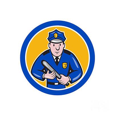 Policeman With Night Stick Baton Circle Print by Aloysius Patrimonio