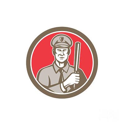 Policeman With Night Stick Baton Circle Retro Print by Aloysius Patrimonio