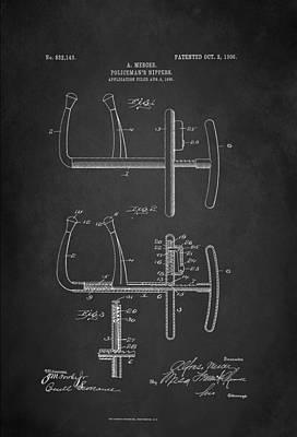 Policeman Wall Art - Digital Art - Policeman's Nippers Patent 1906 by Patricia Lintner