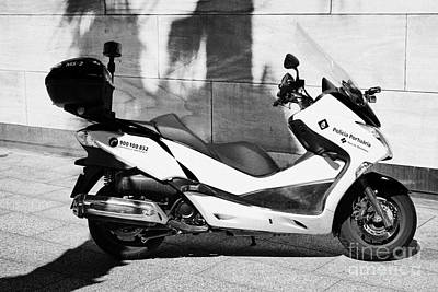 Policia Portuaria Port Police Moto Scooter Vehicle Port Of Barcelona Catalonia Spain Art Print by Joe Fox