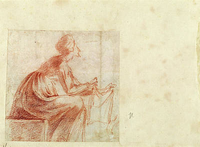 Caravaggio Drawing - Polidoro Da Caravaggio, Woman Seated With A Piece Of Cloth by Quint Lox