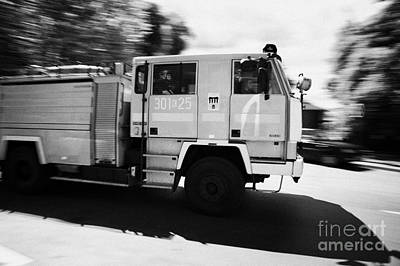 Polish Fire Brigade Fire Guard Straz Krakow Speeding Past On Way To Fire Art Print by Joe Fox