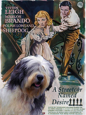 Painting - Polish Lowland Sheepdog Art Canvas Print - A Streetcar Named Desire Movie Poster by Sandra Sij