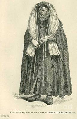 Hasidic Judaism Drawing - Polish Rabbi With Talith And Phylacteries by Peter Gumaer Ogden