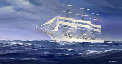 Ship Captain Painting - Polish Ship Dar Mlodziezy  by Captain Bud Robinson