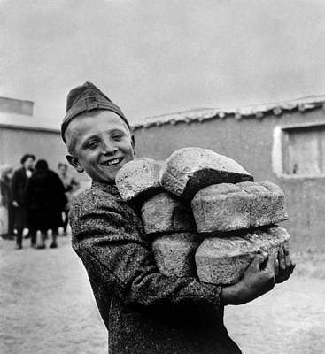 Polish Youngster With Bread Made Art Print by Everett