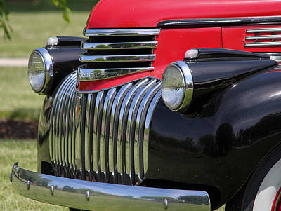 Chev Pickup Photograph - Polished Chrome Grill by E Faithe Lester