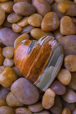 Heart Shaped Rock Photograph - Polished Heart Stone by Garry Gay