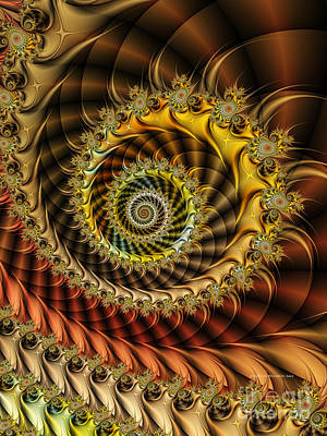 Fractal Geometry Digital Art - Polished Spiral by Karin Kuhlmann