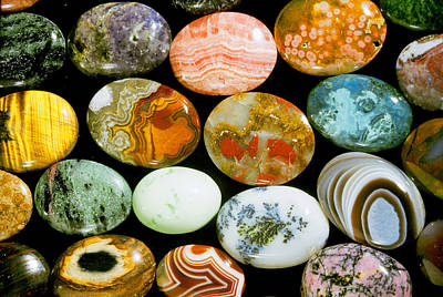 Cabochon Photograph - Polished Stones by Louise K. Broman