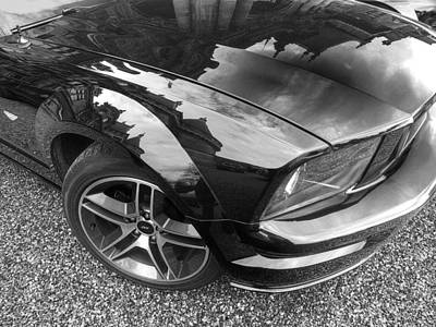 Polish American Art Photograph - Polished To Perfection - Mustang Gt In Black And White by Gill Billington
