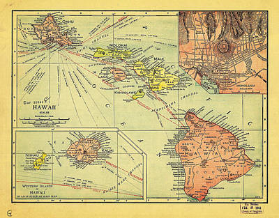 India Painting - Political And Economic Map Of The Hawaiian Islands by Celestial Images