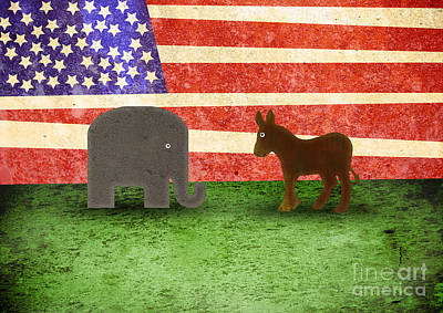 Red White And Blue Mixed Media - Political Face-off by Scott Laffin
