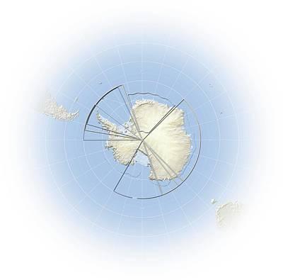 Treaty Photograph - Political Map Of Antarctica by Mikkel Juul Jensen