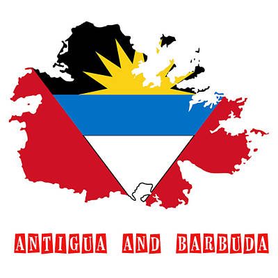 Political Map Of Antigua And Barbuda Art Print by Celestial Images