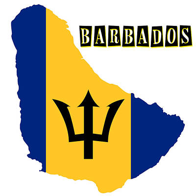 Puerto Rico Painting - Political Map Of Barbados by Celestial Images