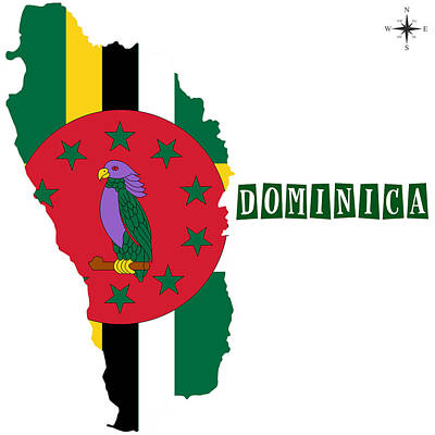 Division Painting - Political Map Of Dominica by Celestial Images