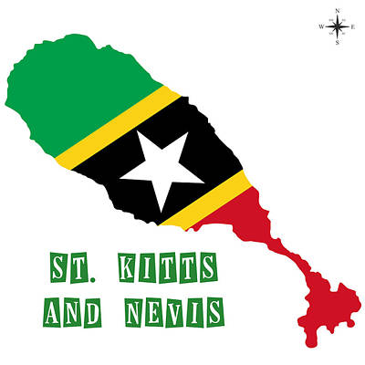 Division Painting - Political Map Of St Kitts And Nevis by Celestial Images