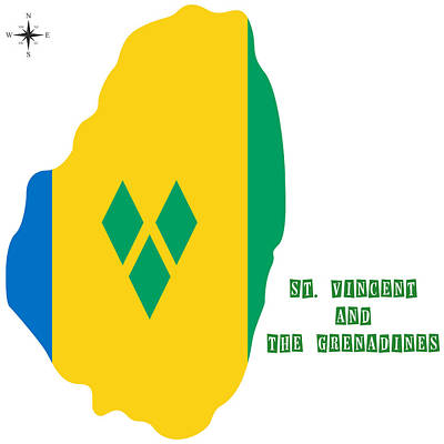 St. Vincent Painting - Political Map Of St Vincent And The Grenadines by Celestial Images