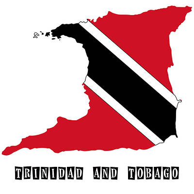 Division Painting - Political Map Of Trinidad And Tobago by Celestial Images