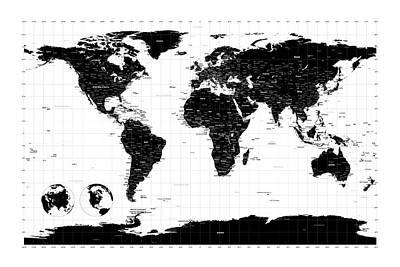 Map Of The World Digital Art - Political World Map by Michael Tompsett