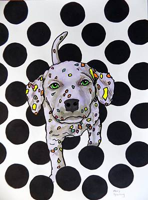 Puppy Mixed Media - Polka Dot Dalmation Puppy by Mary Sperling
