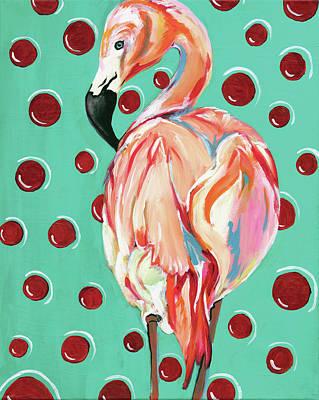 Sea Birds Painting - Polka Dot Flamingo by Anne Seay