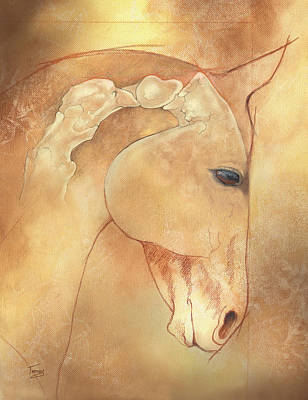 English Horse Painting - Poll Meet Atlas Axis by Catherine Twomey