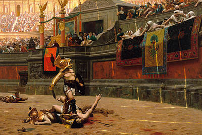 Jean-leon Gerome Painting - Pollice Verso. With A Turned Thumb by Jean-Leon Gerome
