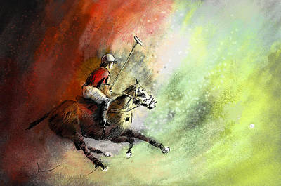 Sports Paintings - Polo 01 by Miki De Goodaboom
