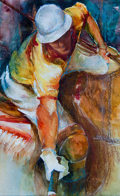 Equine Painting - Polo Player by Jani Freimann