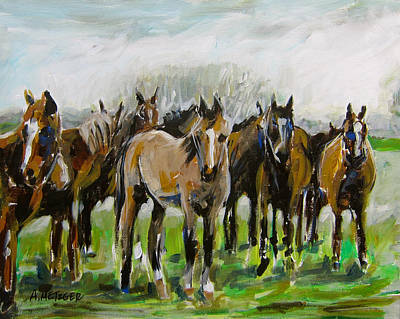 Polo Pony Painting - Polo Ponies by Alan Metzger
