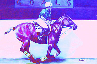 polo WARMING UP purple Art Print by Bets Klieger