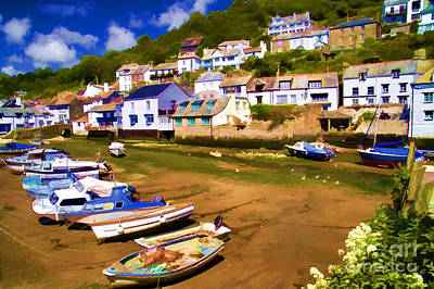 Polperro At Low Tide Art Print by David Smith