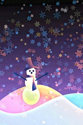 Snow Drifts Digital Art - Polychromatic Snowman by Tara Sullivan