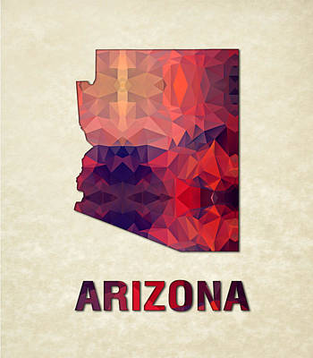 Cartography Painting - Polygon Mosaic Parchment Map Arizona by Elaine Plesser
