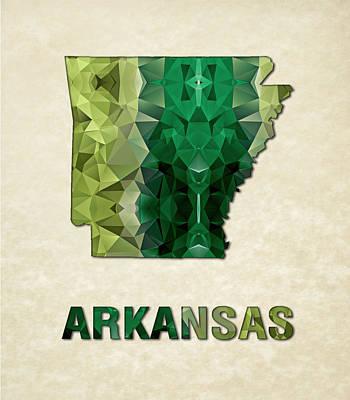 Polygon Mosaic Parchment Map Arkansas Art Print by Elaine Plesser
