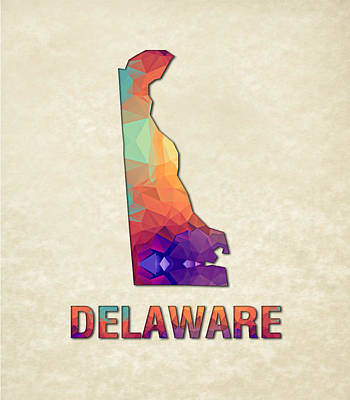 Cartography Painting - Polygon Mosaic Parchment Map Delaware by Elaine Plesser