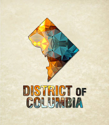 Cartography Painting - Polygon Mosaic Parchment Map District Of Columbia by Elaine Plesser