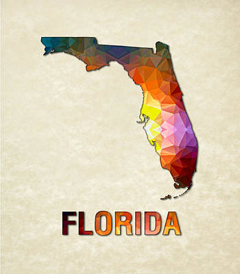 Cartography Painting - Polygon Mosaic Parchment Map Florida by Elaine Plesser